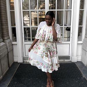 ASOS Sheer & Solid Midi Dress Floral Print Size 10